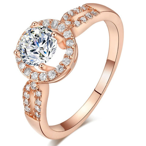 classic round shape zircon stone ring for women