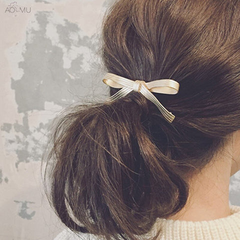 cute golden metal bowknot shape hair pin for women