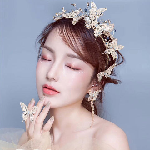 romantic golden butterfly's with crystal design hair tiara crown