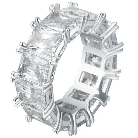 luxury clear color eternal crystal row ring for women