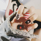24 pcs cute stripes & dots colorful pattern false nails for women