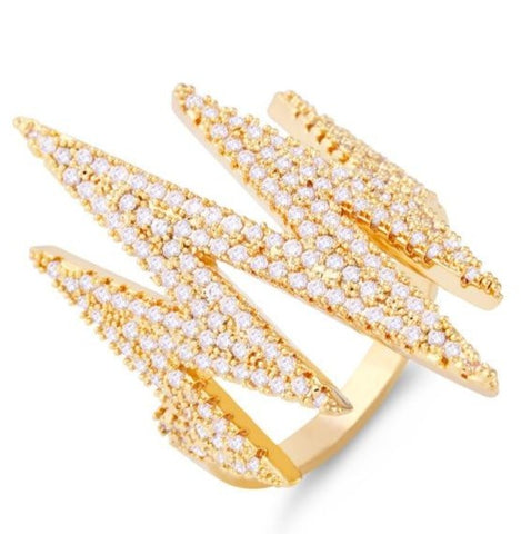 trendy cz crystal lightning shaped ring for women