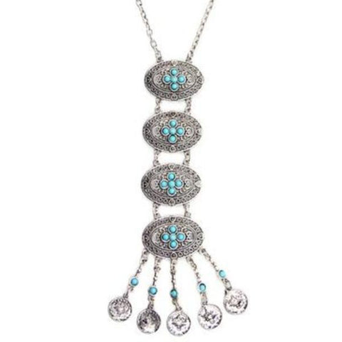 vintage metal & stones coin tassel pendant necklace for women