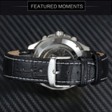 luxury automatic mechanical genuine leather strap wrist watch