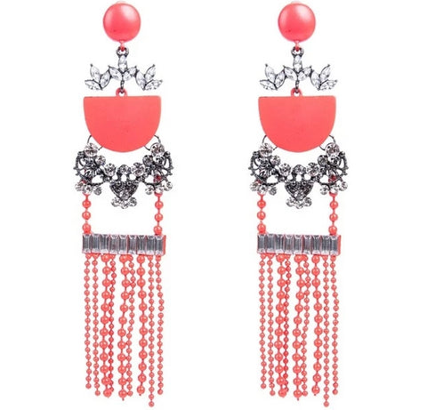 vintage big gem mosaic tassel drop earrings for women
