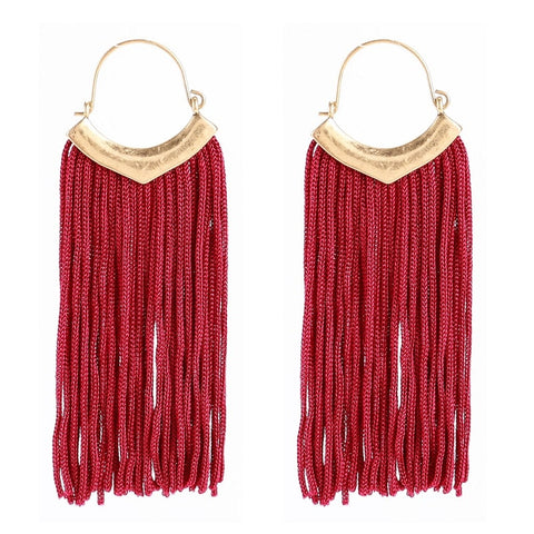 vintage long chain tassel drop earrings for women