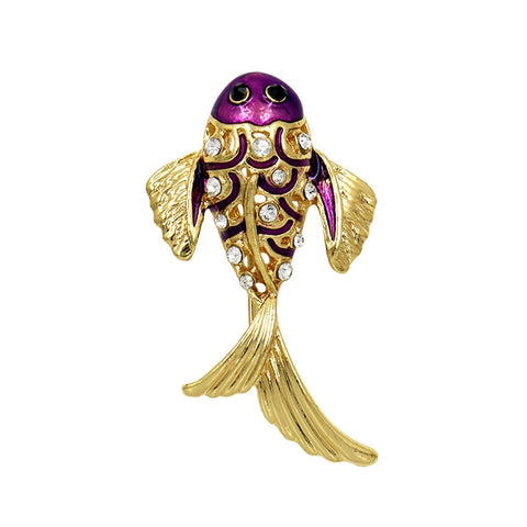 cute crystal fish shaped brooch pin for women