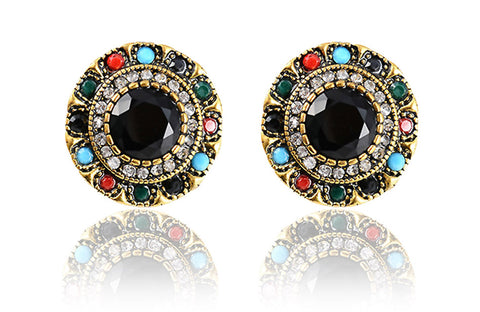 vintage colorful resin flower stud earrings for women