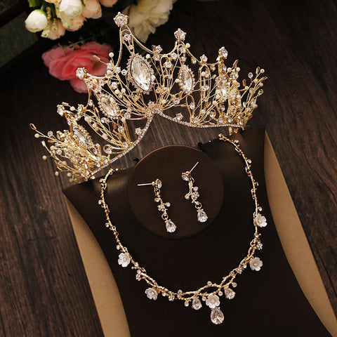 luxury rhinestone crystal golden hair tiara crown & earrings for women