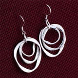 silver plated 3 loop drop earrings for women