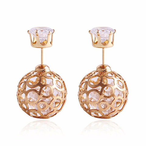 hollow out imitation crystal double side ball stud earrings