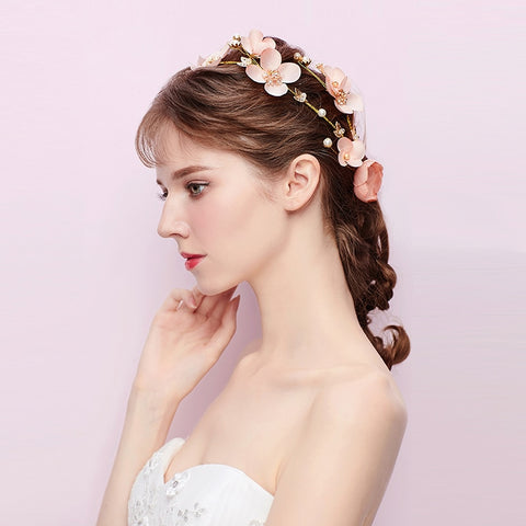romantic pink flower with gold leaf & crystal pearl hair band tiara