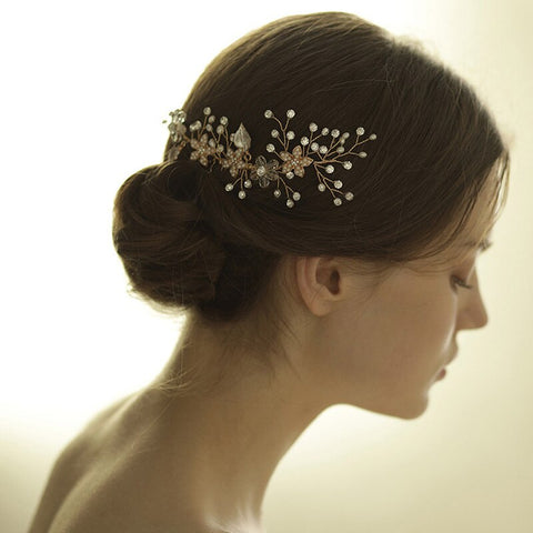 romantic gold color flower ornament with pearl hair comb