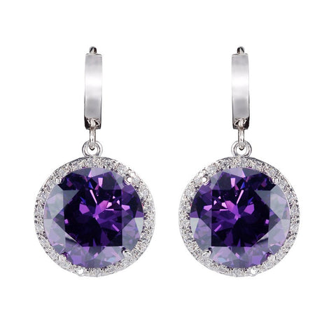 purple cubic zirconia silver plated earrings