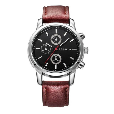 elegant chronograph dial quartz leather band wrist watch for men