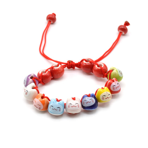 handmade cute ceramic lucky cat charm beaded bracelet