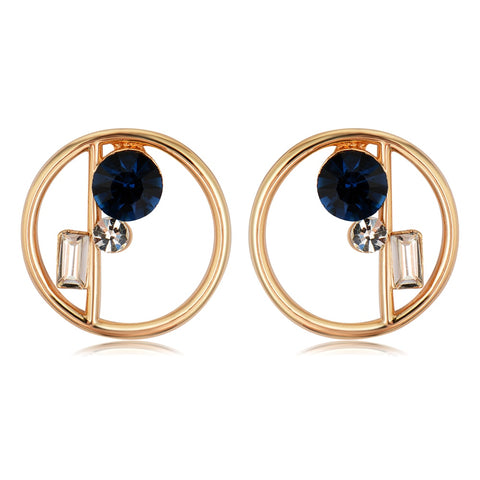 trendy gold/silver color crystal round stud earrings for women