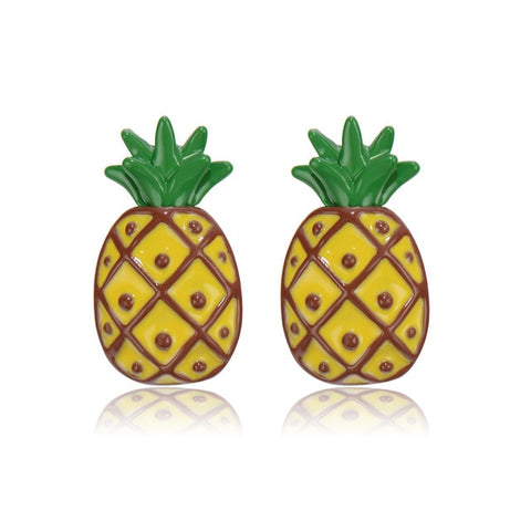 cute enamel pineapple design stud earrings for women