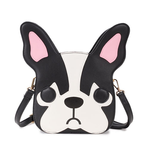 cute sad puppy shaped pu leather shoulder bag for women
