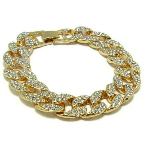 luxury gold color iced out bracelet & bangle for men