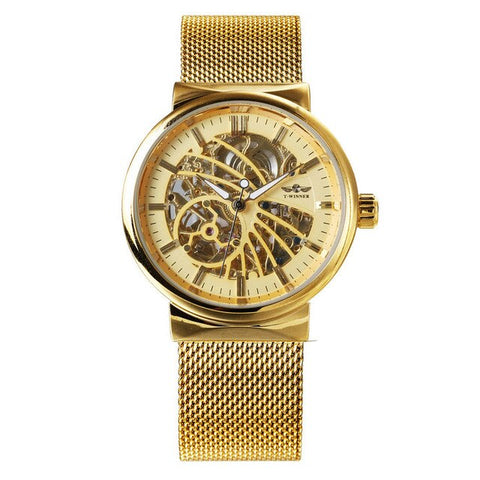 elegant mechanical skeleton steel mesh wrist watch for men