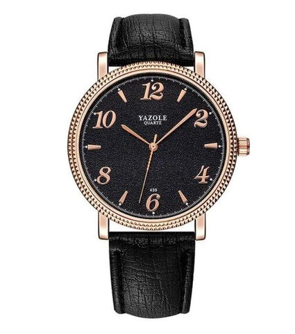 casual steel case leather band quartz wrist watch for women