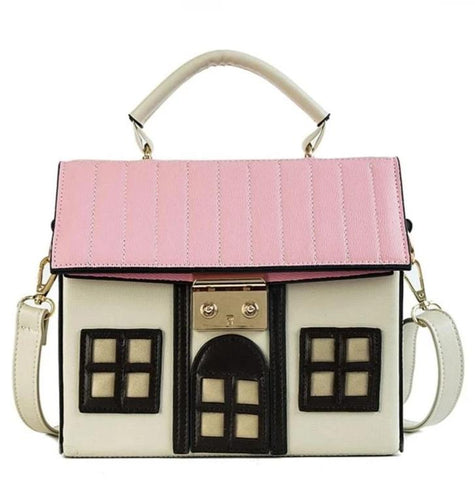 cute cartoon house design pu leather shoulder bag for women
