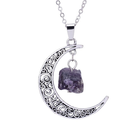 vintage hollow moon & irregular natural stone pendant necklace