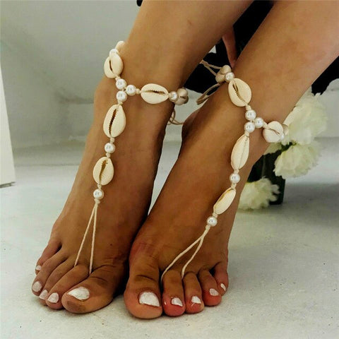 bohemian simulated pearl & shell foot chain anklet for women