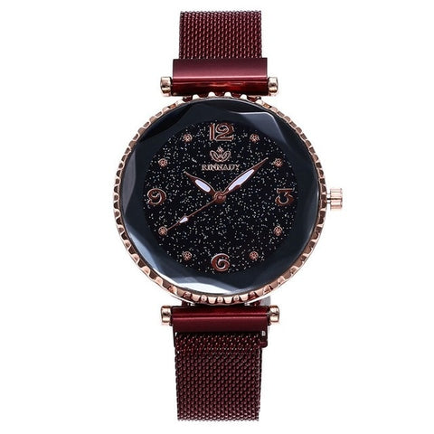 elegant glittery pattern dial steel mesh band wrist watch for women
