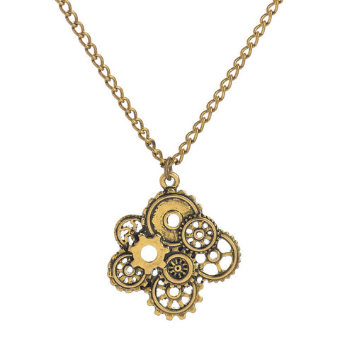 steampunk gears shape pendant necklace for men
