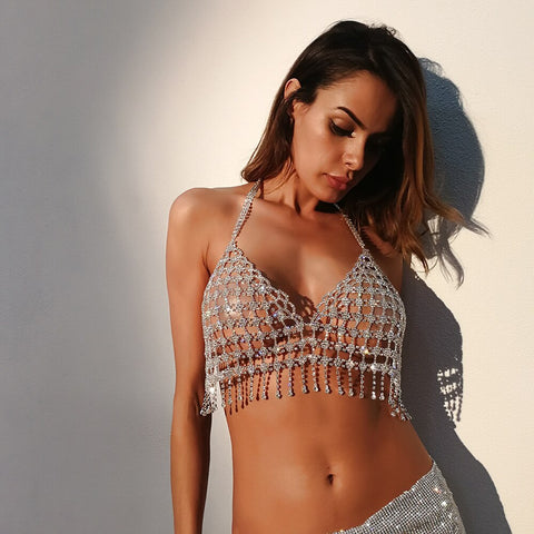 luxury sexy sparkling crystal hollow chain sequins top bra body jewelry