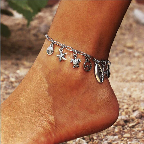 trendy silver color metal turtle & shell charms anklet for women