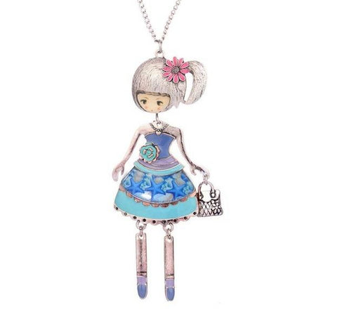 cute girl with dress doll pendant necklace for women