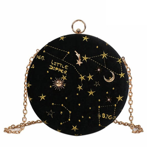 trendy embroidered star pattern round shoulder bag for women