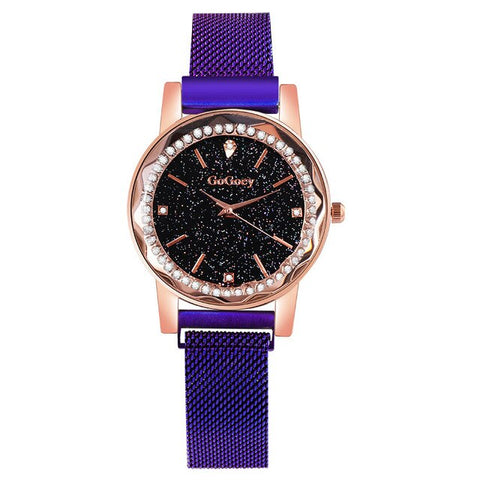 elegant crystal dial steel mesh band quartz wrist watch for women