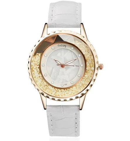 elegant crystal beads dial leather band quartz wrist watch for women