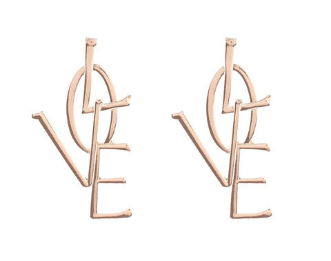 trendy gold/silver color love word design earrings for women