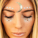 golden moon & stars freckles temporary face tattoo sticker