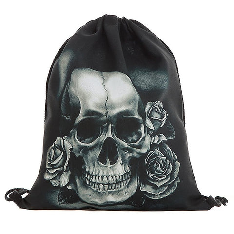 cool pirate skull printing backpack sack bag