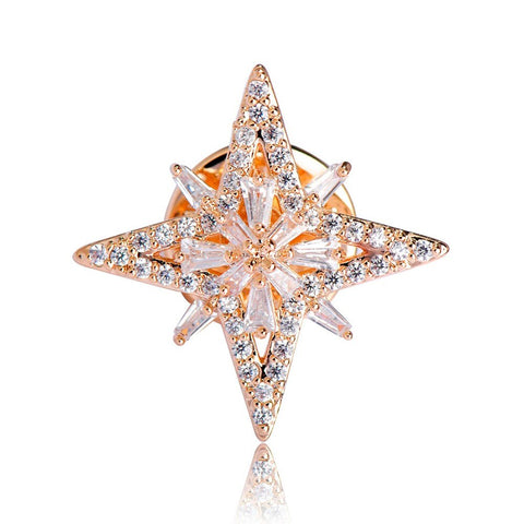 elegant full cz crystal star shape brooch pin