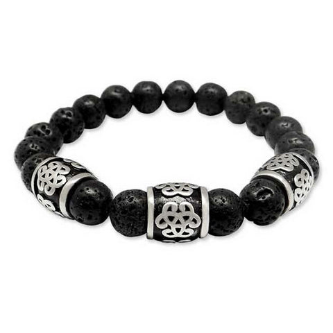 handmade nature lava stone beads charm bracelet for men