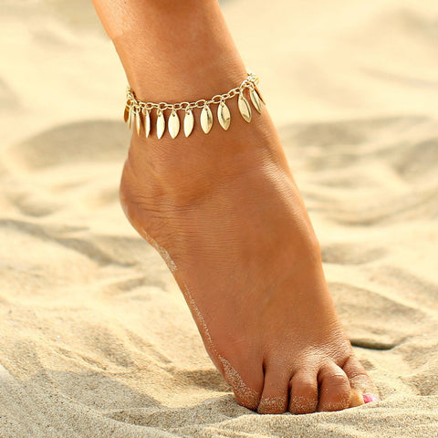 trendy gold color leaf shaped tassel anklet for women