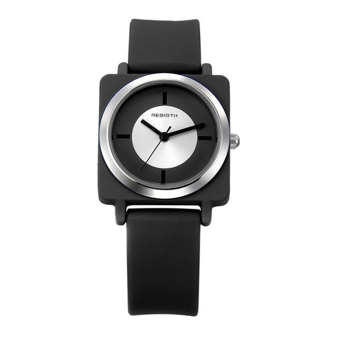 trendy square shaped case silicon band wrist watch for women