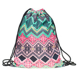 cute mermaid printing polyester backpack sack bag for women