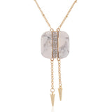 white stone rivet charm pendant necklace