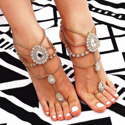 luxury crystal drops tassel multi layered chain anklet for women