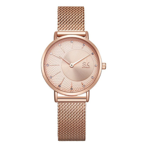 elegant crystal paved dial steel mesh band watch for women