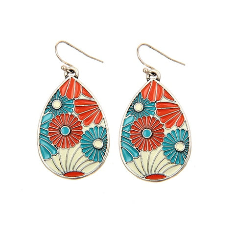 trendy enamel flower pattern drop earrings for women