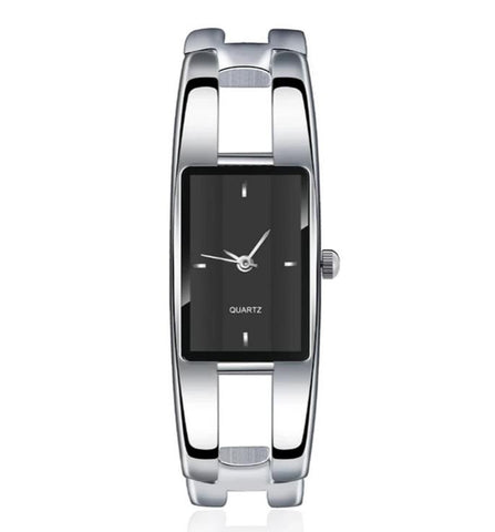 elegant rectangle dial hollow steel bangle wrist watch for women